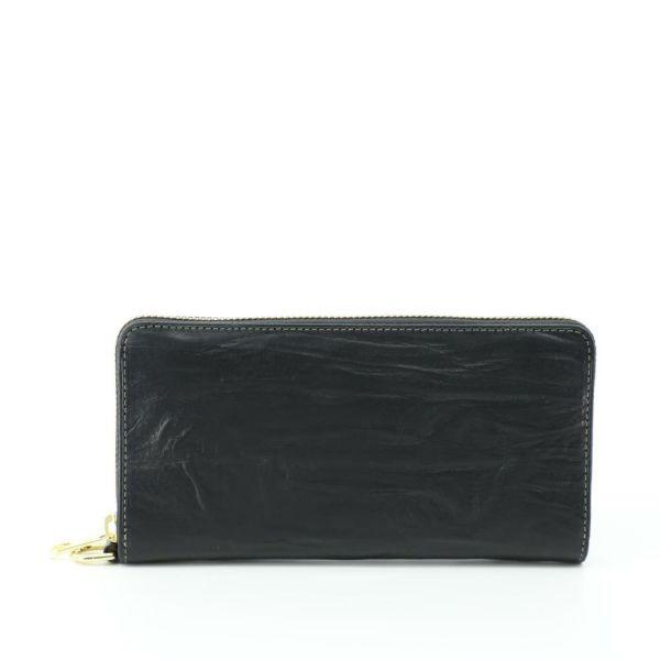 ジップ長財布(ブラックの正面)