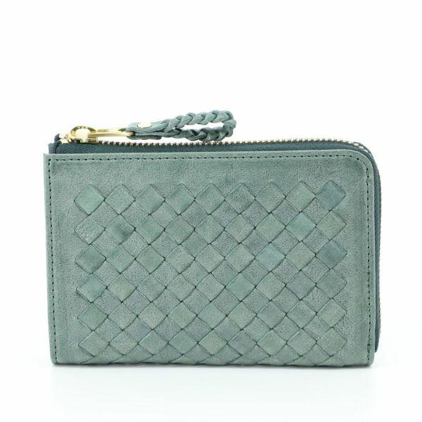 ジップ二つ折財布(グリーンの正面)